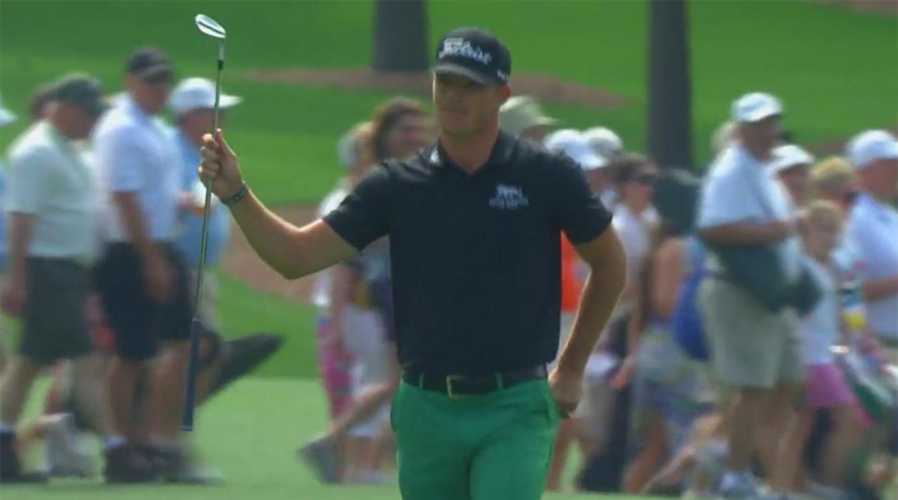 Morgan Hoffmann celebrates his eagle on Saturday.