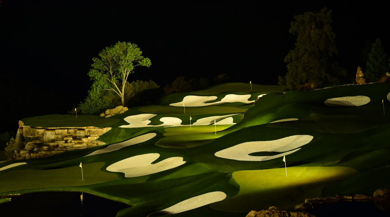 "ANYTIME IS TEE TIME: Designed by Palmer, the practice range has 16 target greens and is illuminated at night. It ""looks like it's from another planet,"" said Rodriguez."