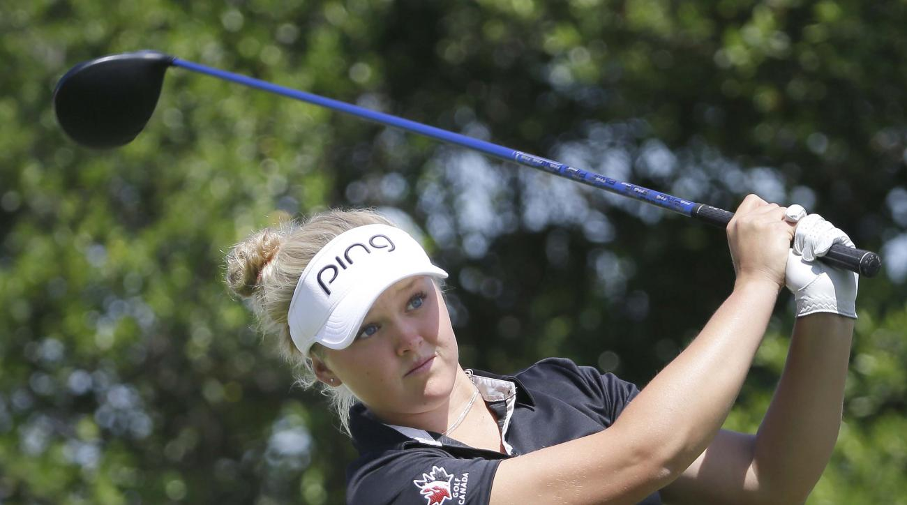 Brooke Henderson watches her tee shot on the second hole during the final round of the LPGA North Texas Shootout May 3, 2015, in Irving, Texas.