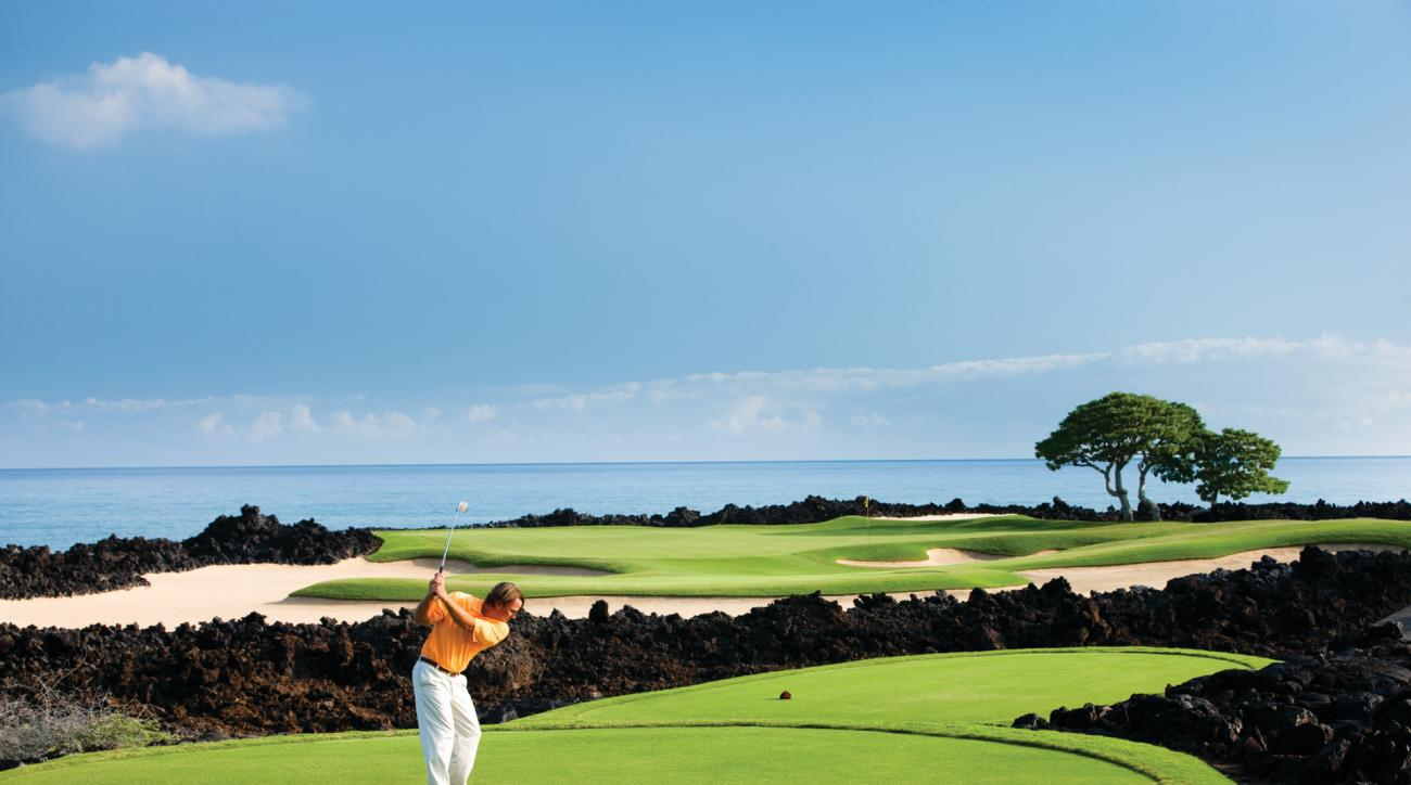 The first stop on the trip is Kona, Hawaii, which is home to breezy, beautiful Hualalai Golf Club.