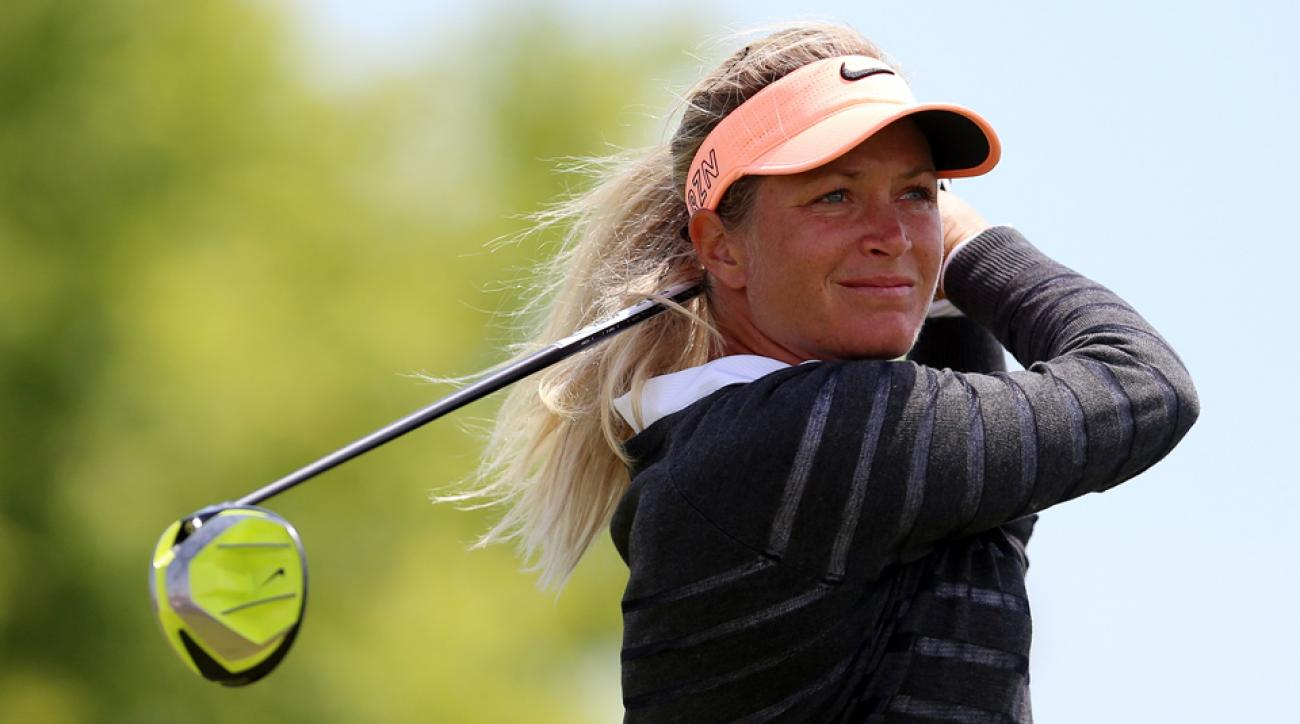 Suzann Pettersen of Norway hits her tee shot on the third hole during the final round of the Manulife LPGA Classic at the Whistle Bear Golf Club on June 7, 2015, in Cambridge, Ontario, Canada.