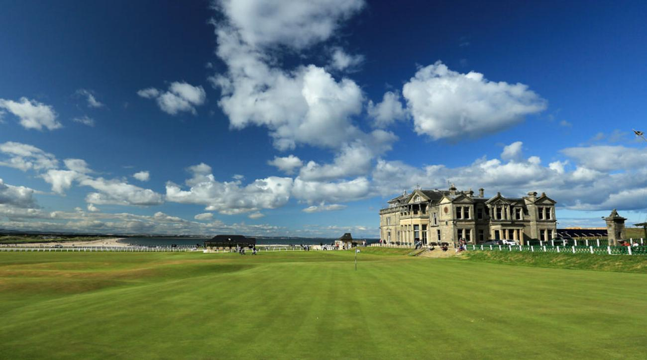 The R&A clubhouse sits at the home of golf in St. Andrews.