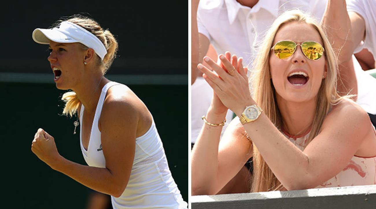 Caroline Wozniacki during her third round match at Wimbledon; Lindsey Vonn takes in Day 7 action at Wimbledon.