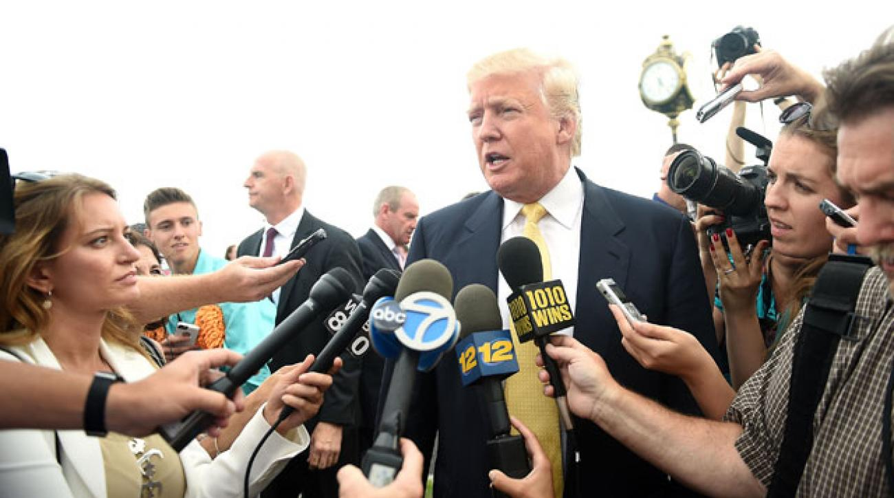Donald Trump speaks to the media during the Hank's Yanks Golf Classic at Trump Golf Links Ferry Point.