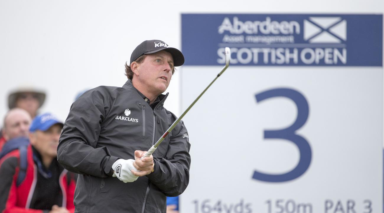 Phil Mickelson plays the Scottish Open at Gullane Golf Club.