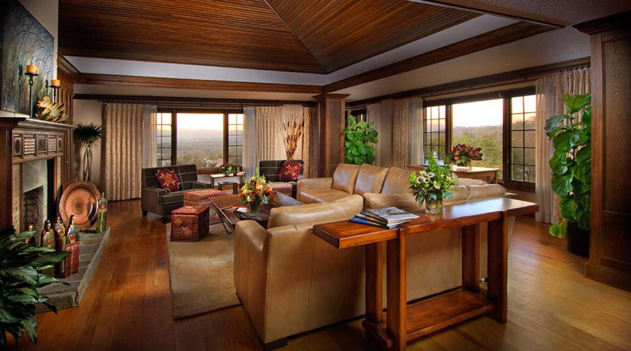 The E.W. Grove Penthouse Suite features a spacious living room in addition to other amenities.