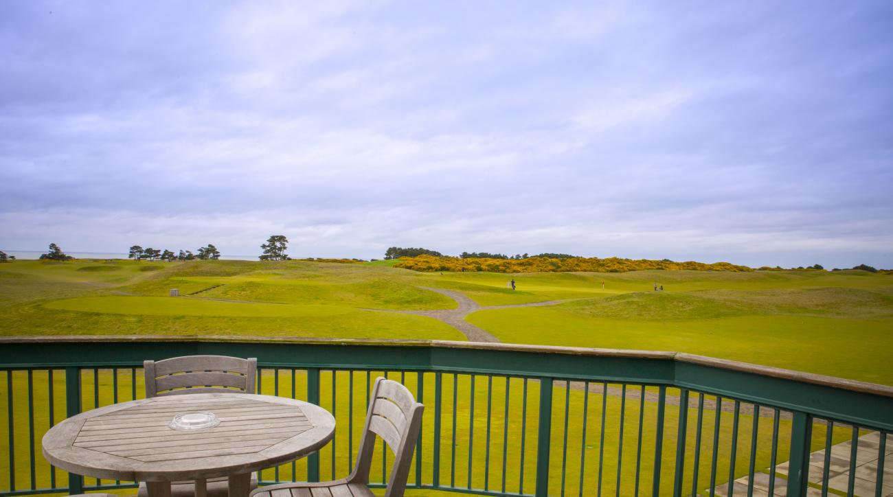 It's hard to beat the view of Bandon Dunes' 18th hole from the balcony of the Lodge.