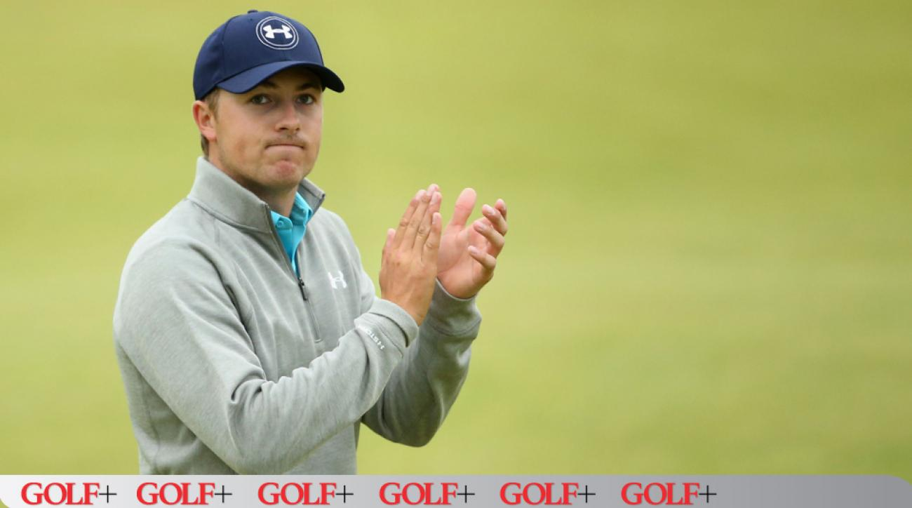 Jordan Spieth acknowledges the crowd on the 18th green during the final round of the 144th Open Championship on July 20, 2015, in St Andrews, Scotland.