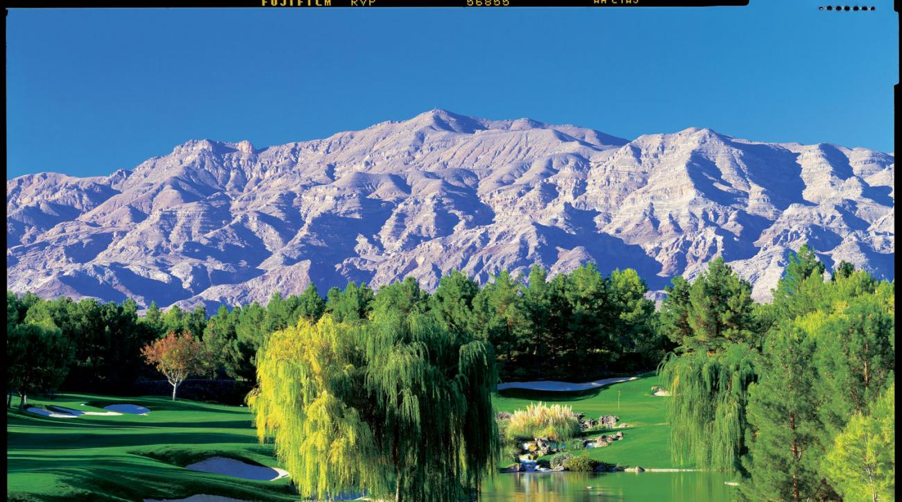 A view of the 18th hole at Shadow Creek in Las Vegas.