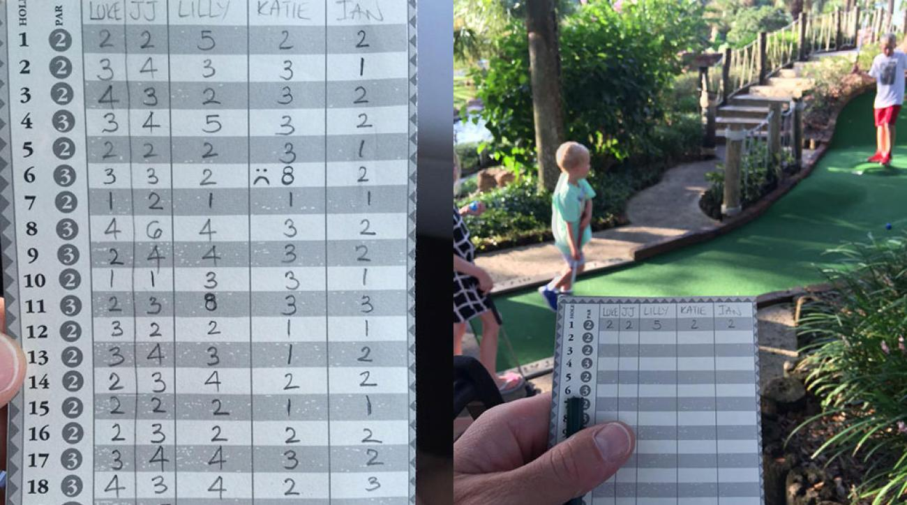 Ian Poulter dominated his kids in mini golf on Sunday afternoon.