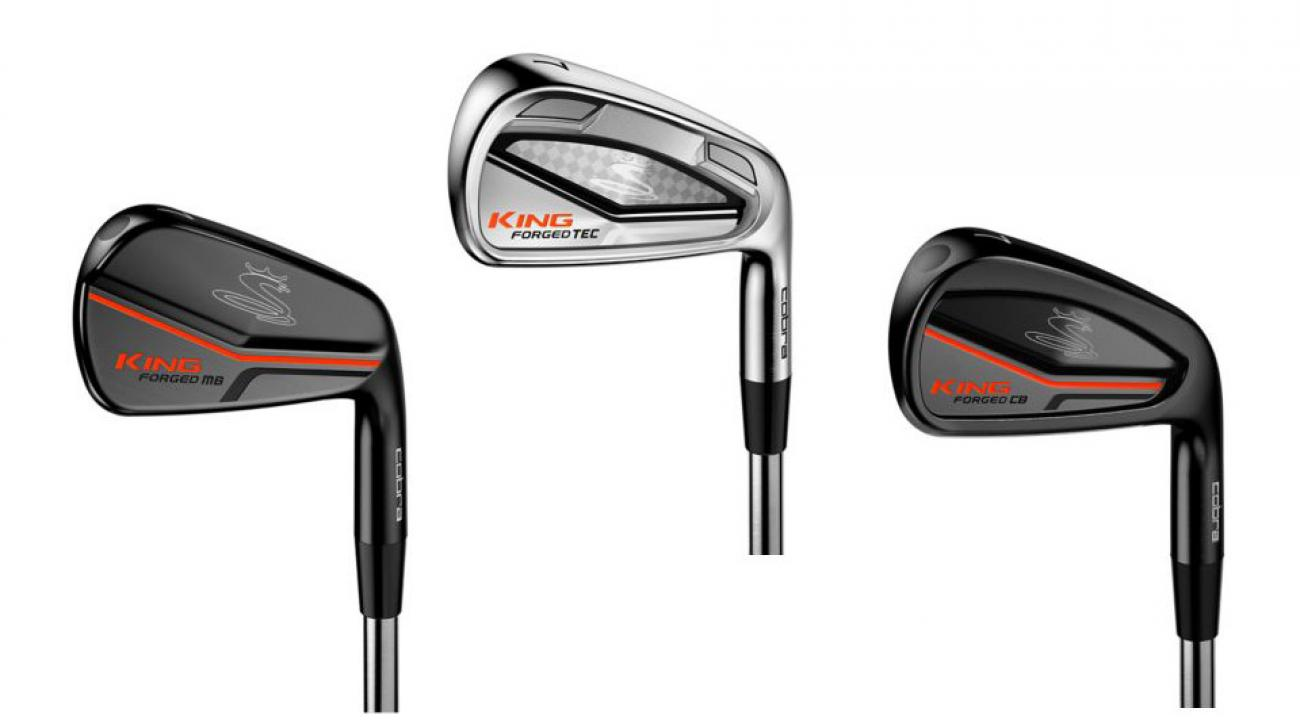 From left to right: Cobra KING Forged MB irons; Cobra KING Forged Tec irons; Cobra KING Forged CB irons