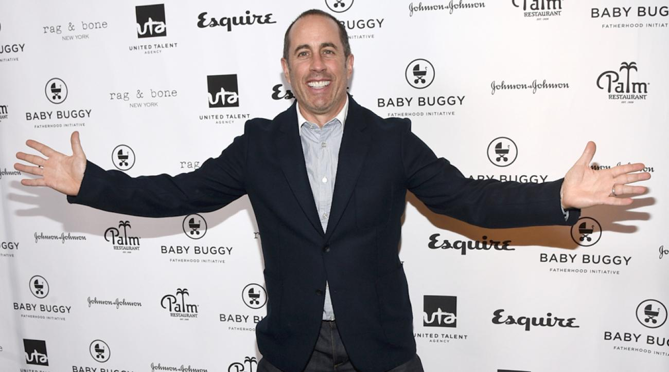 Jerry Seinfeld attends the Inaugural Los Angeles Fatherhood Lunch to Benefit Baby Buggy hosted by Jerry Seinfeld at The Palm Restaurant on March 4, 2015, in Beverly Hills, California.