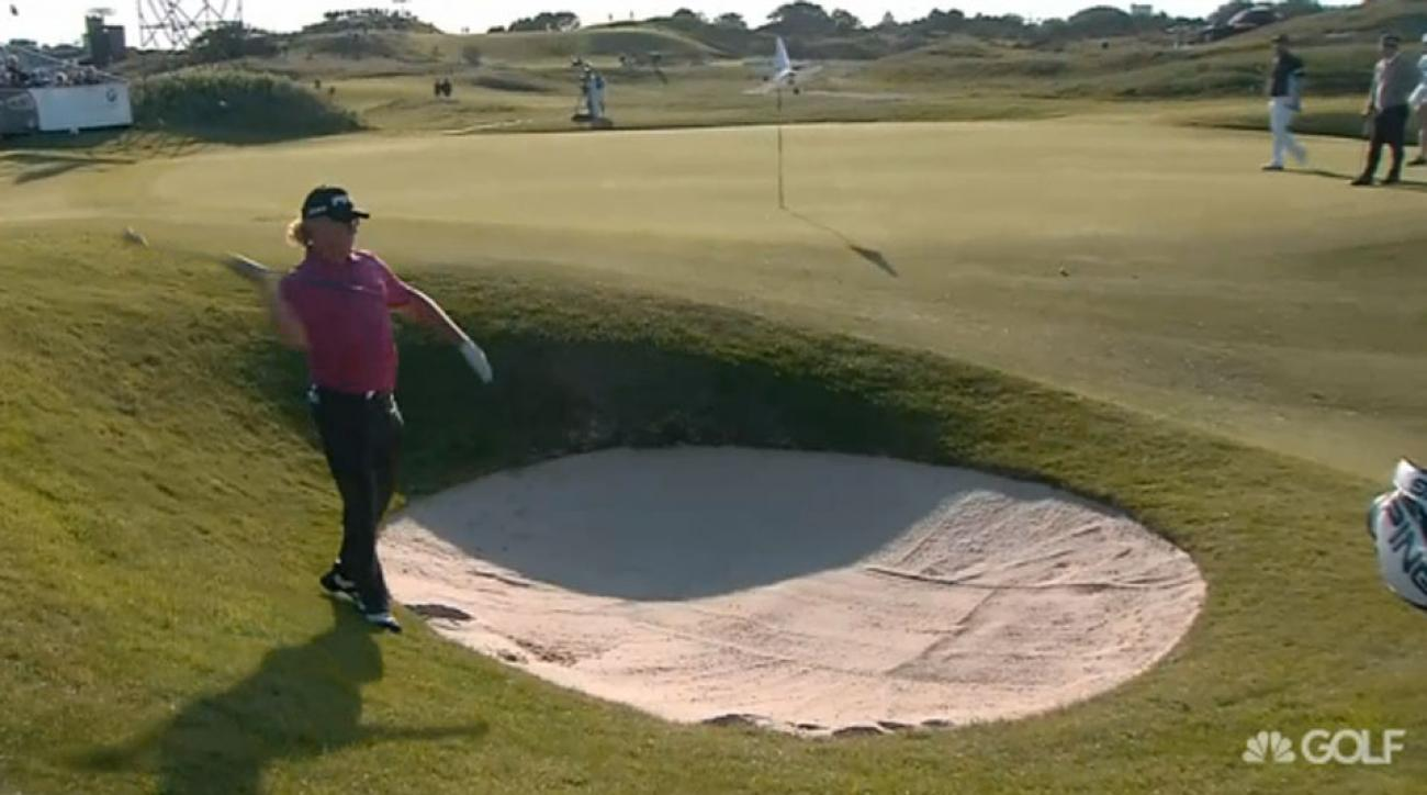 Miguel Angel Jimenez threw his wedge after a bunker shot at the KLM Open.