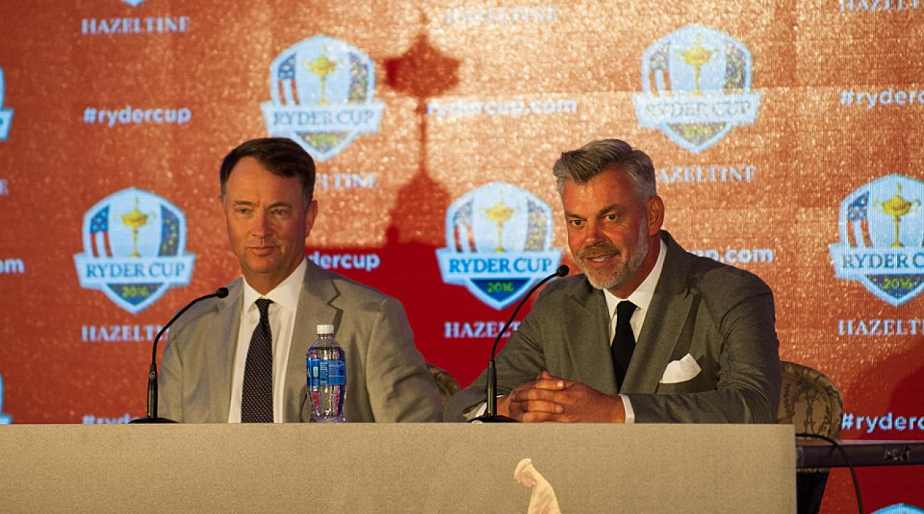 2016 Ryder Cup captains Davis Love III (left) and Darren Clarke speak to the media at Hazeltine National.