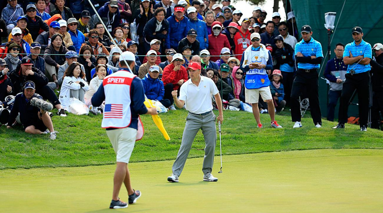 Team USA's Jordan Spieth during Saturday's action at the 2015 Presidents Cup.
