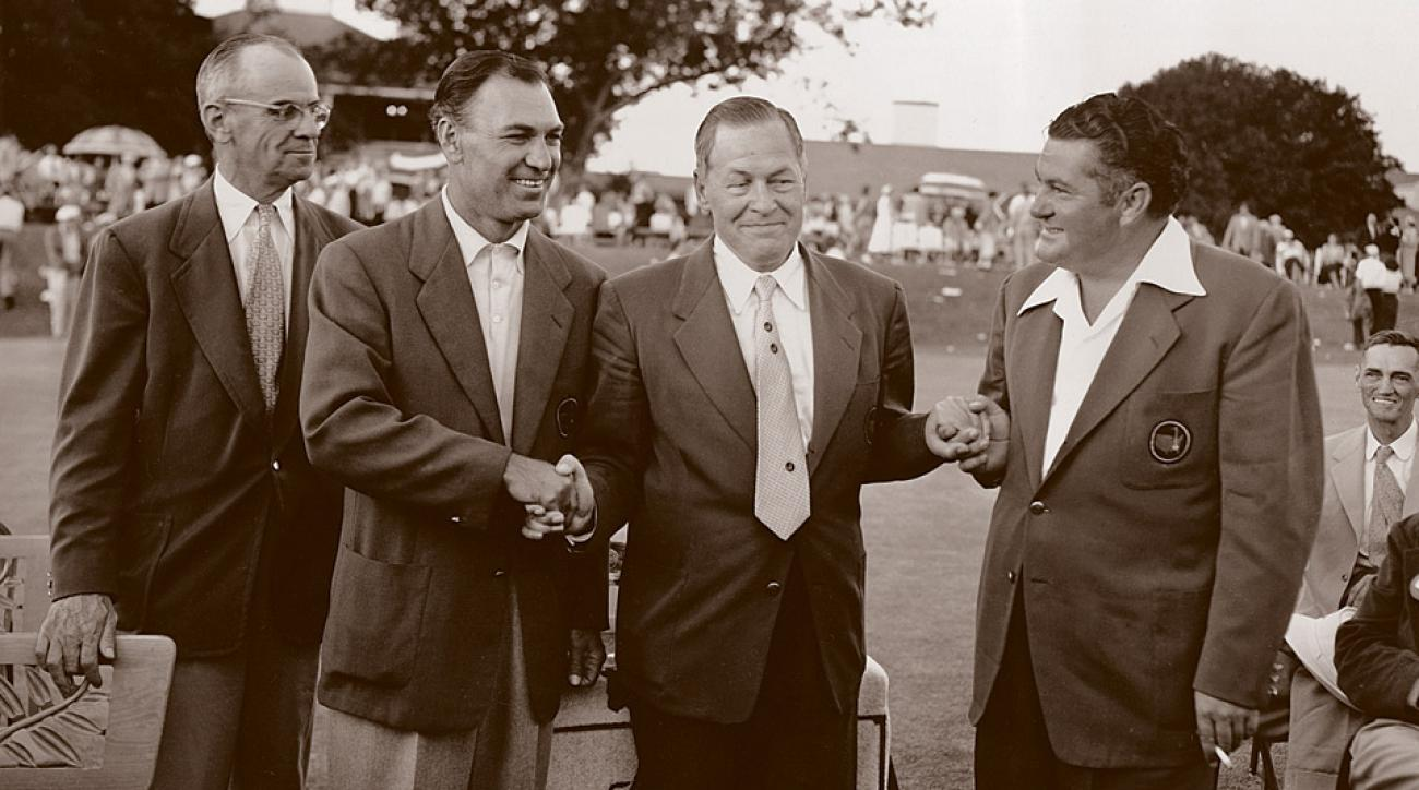 Runner-up Porky Oliver (right) with Bobby Jones (center) and champion Ben Hogan (left) at the 1953 Masters)