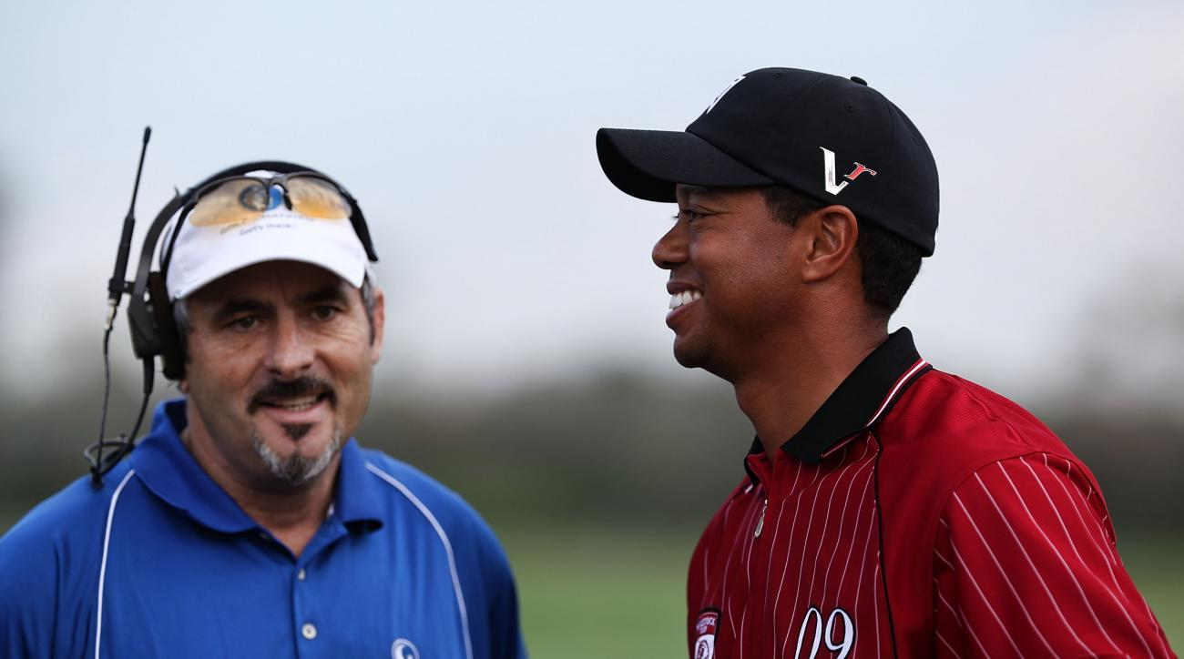 David Feherty chats with Tiger Woods prior to the Tavistock Cup in 2009.