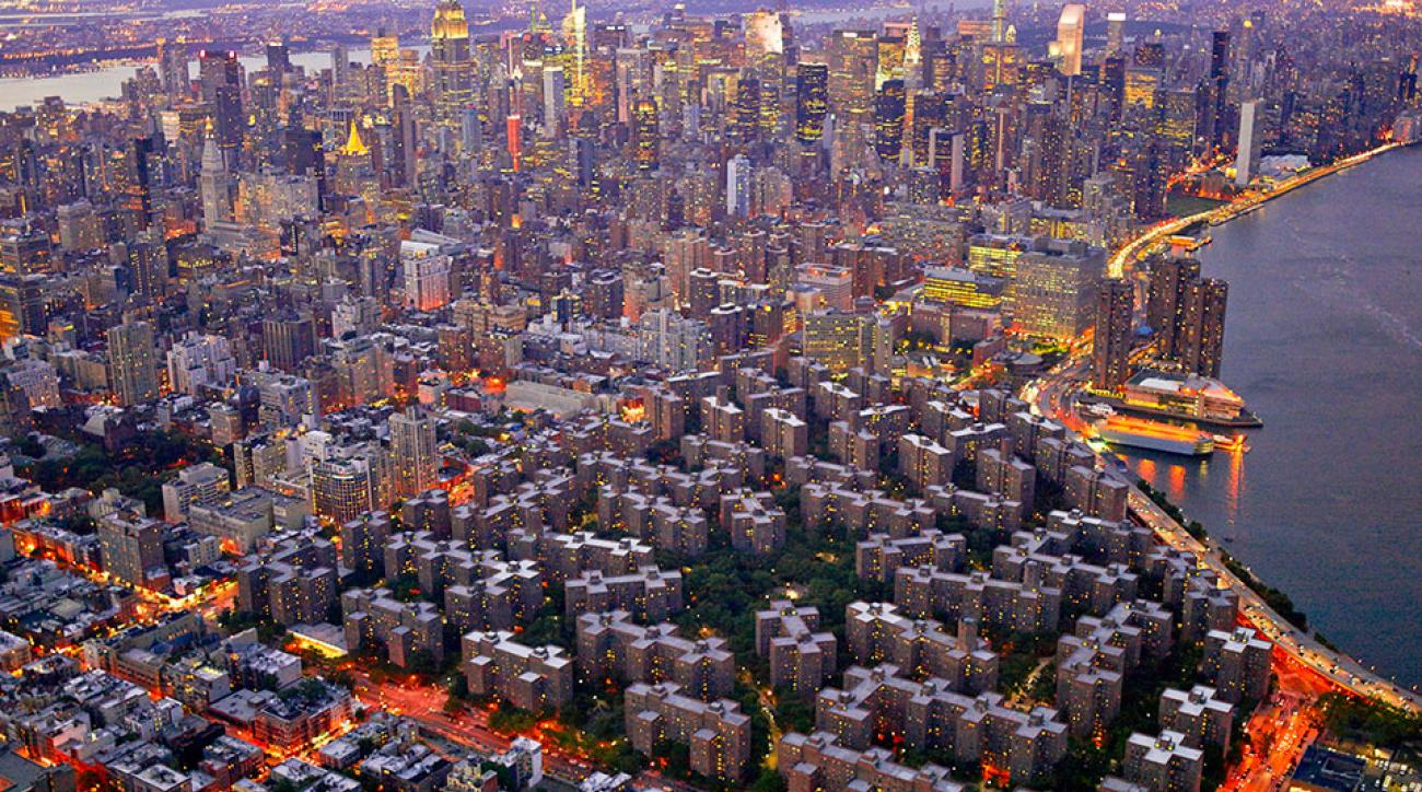 An aerial view of Stuyvesant Town and Peter Cooper Village looking toward midtown Manhattan.