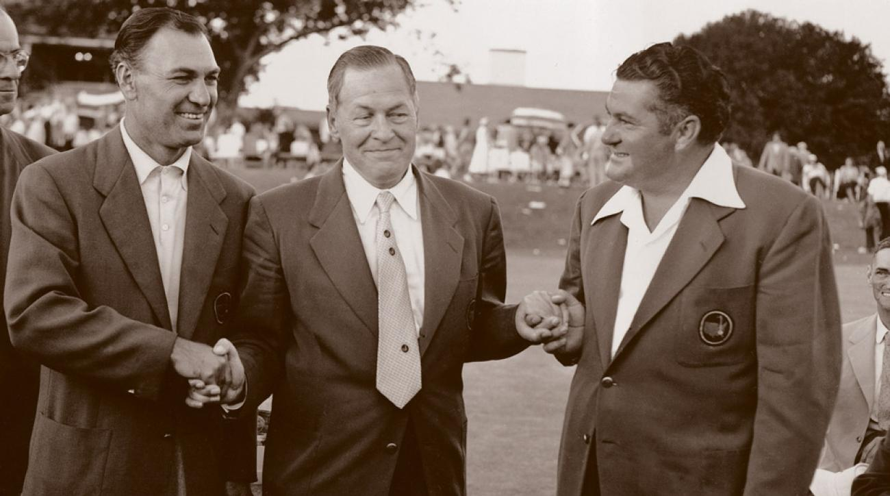 Porky Oliver (right) with Ben Hogan and Bobby Jones at the 1953 Masters.