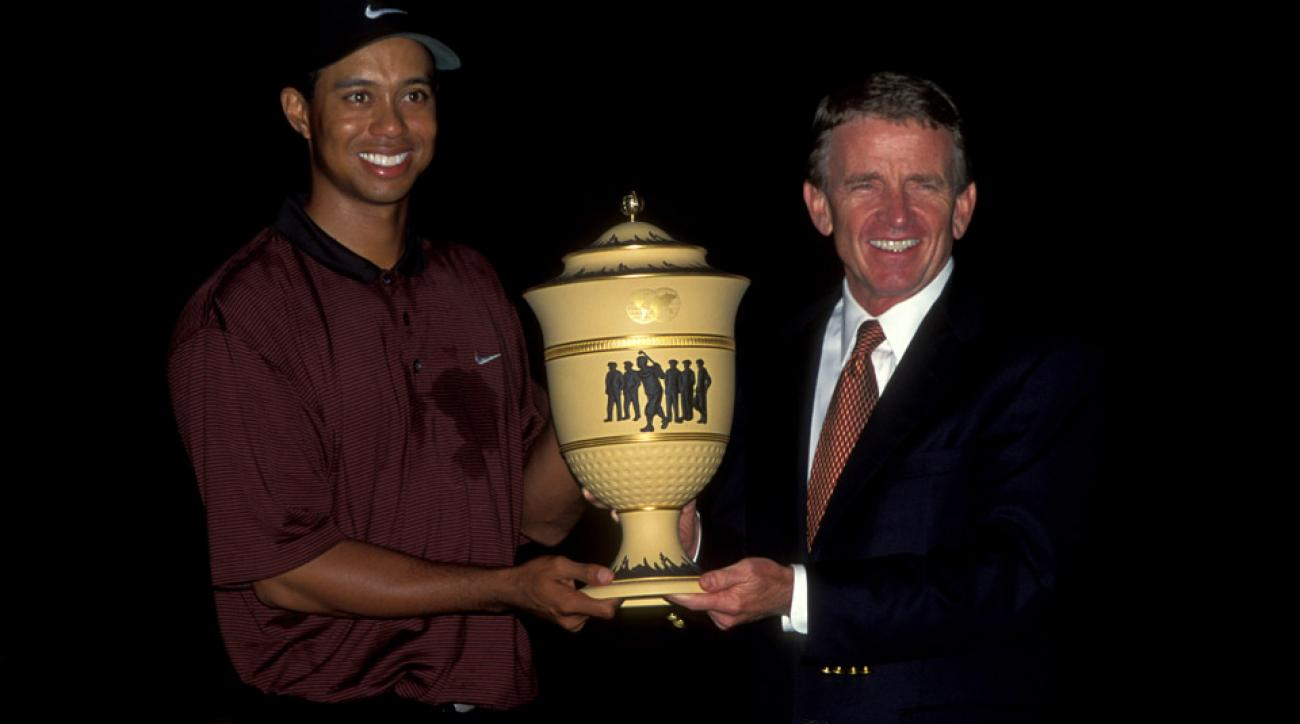 Tiger Woods poses with Tim Finchem after winning the 2000 NEC Invitational at Firestone.