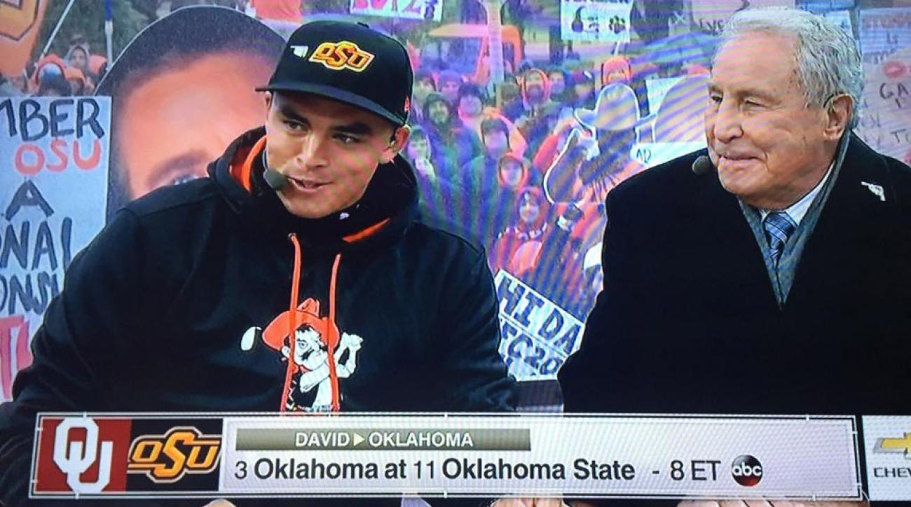 Rickie Fowler appears on ESPN's College GameDay.