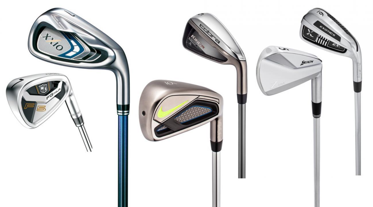 From left: Wilson Staff FG Tour F5 Iron, XXIO 9 Iron, Nike Vapor Fly Iron, Cobra King F6 Iron, Srixon Z 945 Iron, Tour Edge Exotics EXi Iron