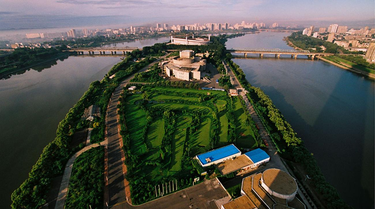 General view of the capital with the golf club near the river Taedong in Pyongyang ,North Korea.
