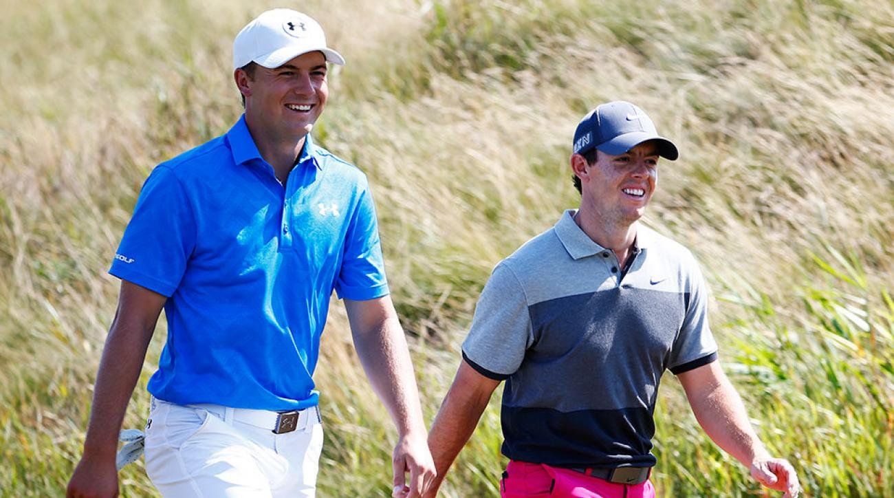 Jordan Spieth of the United States and Rory McIlroy of Northern Ireland walk together on the fifth hole during the first round of the 2015 PGA Championship at Whistling Straits on August 13, 2015 in Sheboygan, Wisconsin.