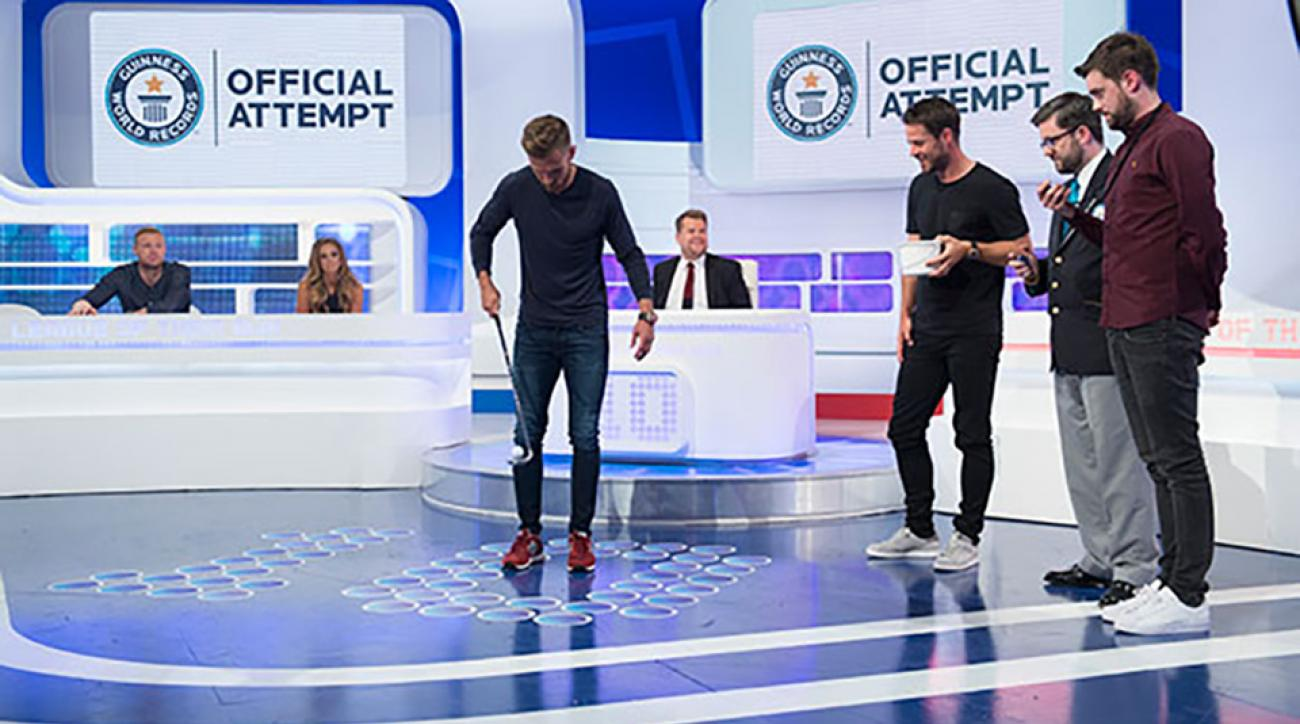 Aaron Ramsey of Arsenal Football Club attempts to break the golf ball 'keepy-uppy' Guinness World Record.