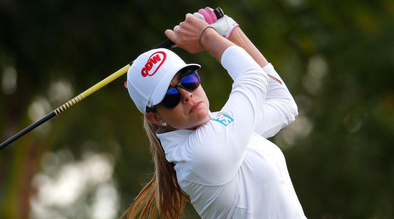 Paula Creamer tees off on the fourth hole during the second round of the Pure Silk-Bahamas LPGA Classic.