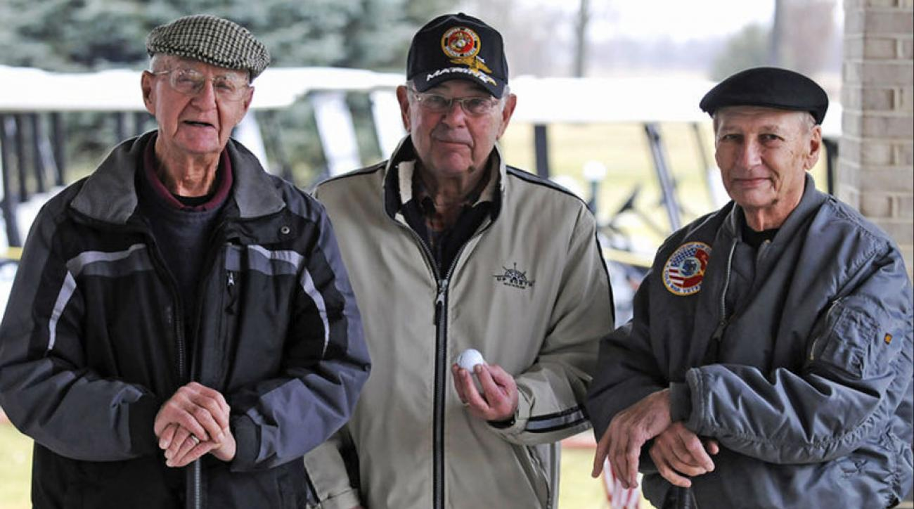 Don Sawyer, left, and Joe McCourt, right, at Monteno Golf Club where they hit back-to-back aces.