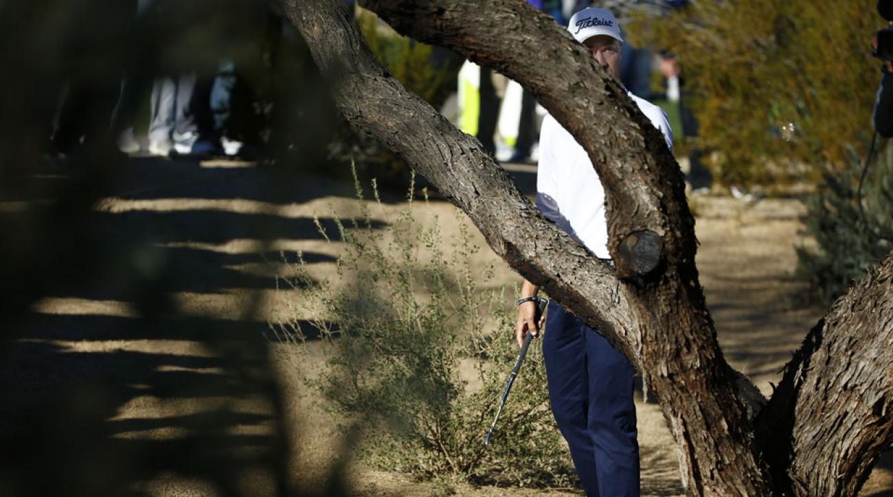 Justin Thomas struck a tree with his 8-iron during the second round of the Waste Management Phoenix Open and his iron snapped in half.