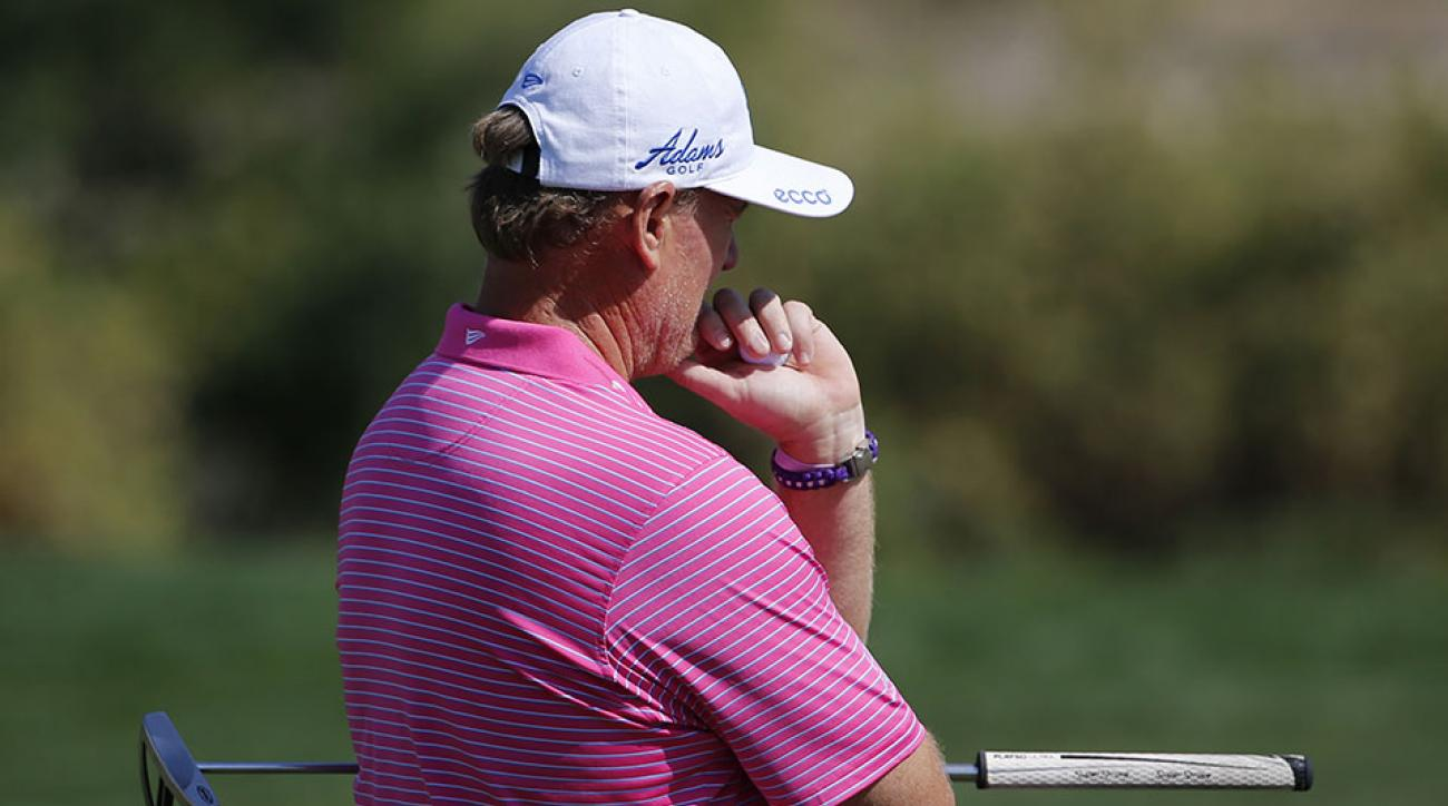 Ernie Els of South Africa thinks before playing a shot during the 2nd round of the 2016 Dubai Desert Classic at the Emirates Golf Club in Dubai.