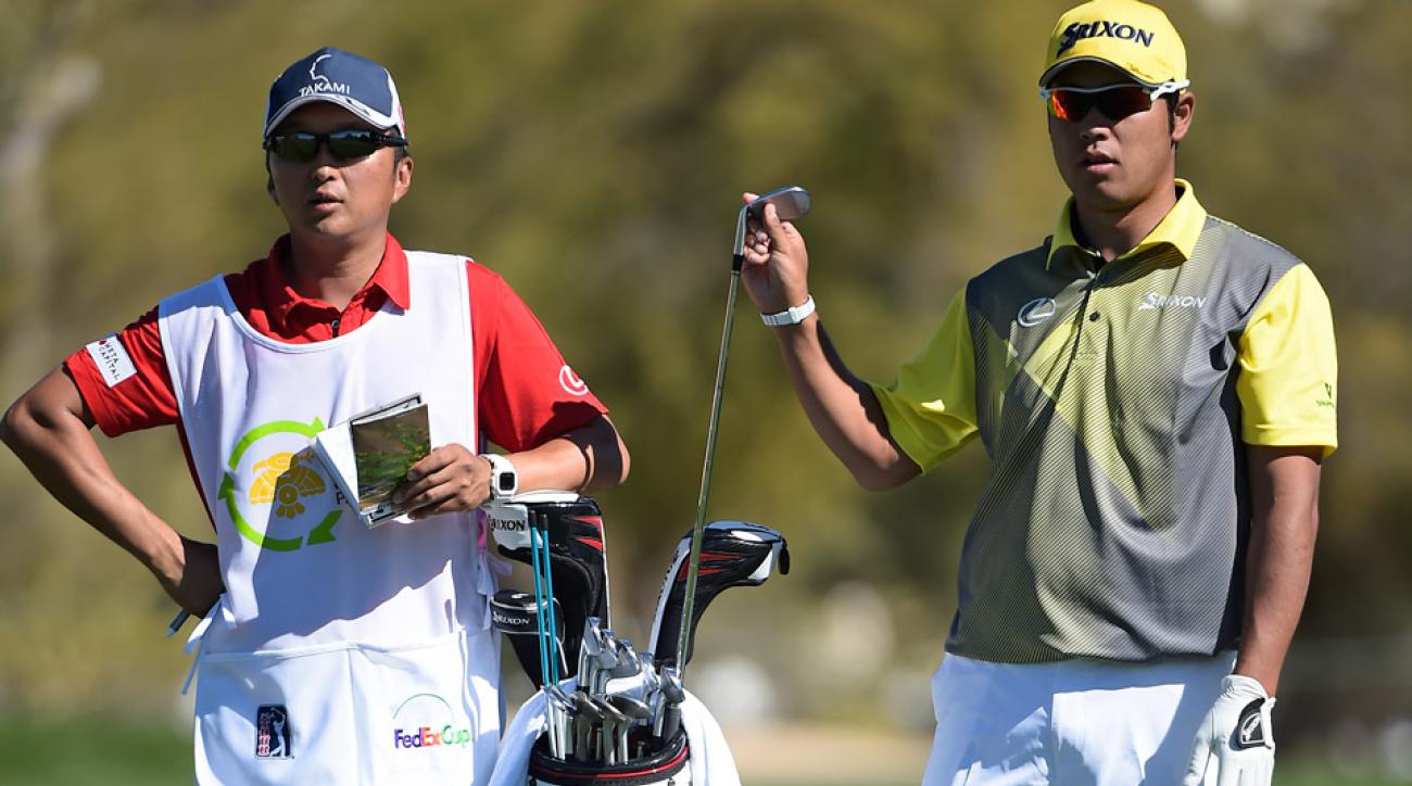 Hideki Matsuyama with his Cleveland/Srixon golf clubs during the 2016 Waste Management Phoenix Open.