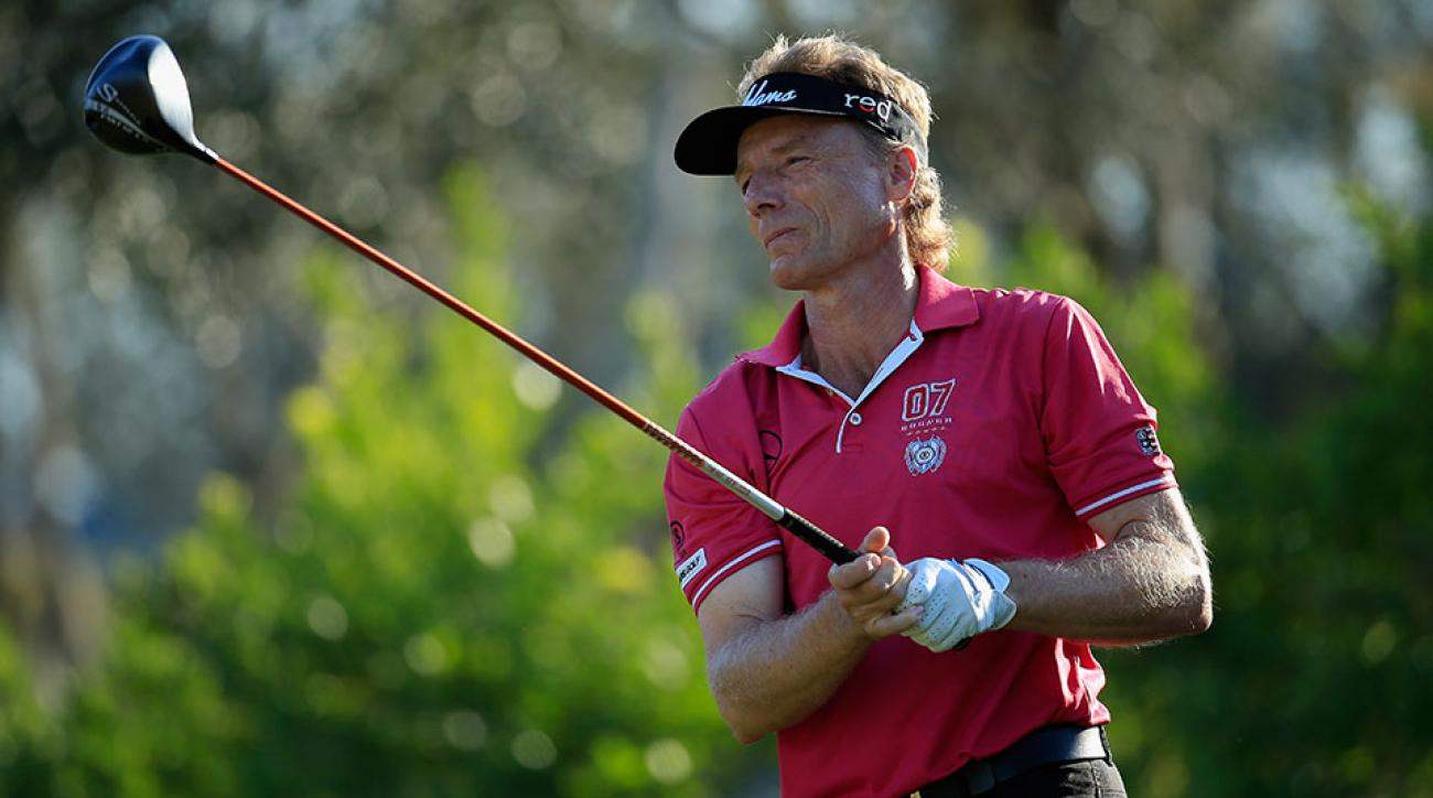 Bernhard Langer of Germany hits a tee shot on the 15th hole during the second round of the 2016 Chubb Classic at the TwinEagles Club on February 13, 2016 in Naples, Florida.