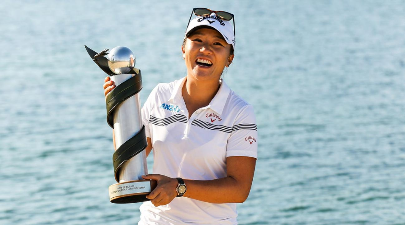 Lydia Ko poses with the New Zealand Women's Open trophy after winning the New Zealand Women's Open at Clearwater Golf Club on Feb. 14, 2016, in Christchurch, New Zealand.