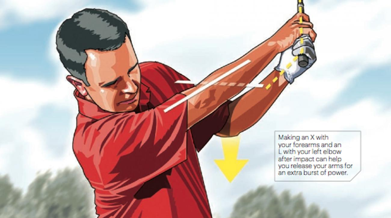 Making an X with your forearms and an L with your left elbow after impact can help you release your arms for an extra burst of power.