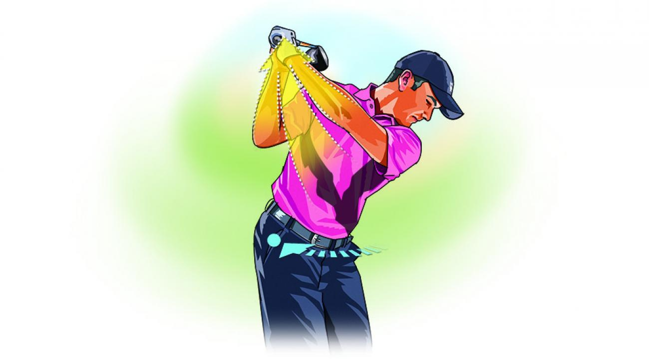 Don't sweat your shoulder turn in your backswing, just make sure to get your right hip pocket behind you as the clubhead reaches the top.