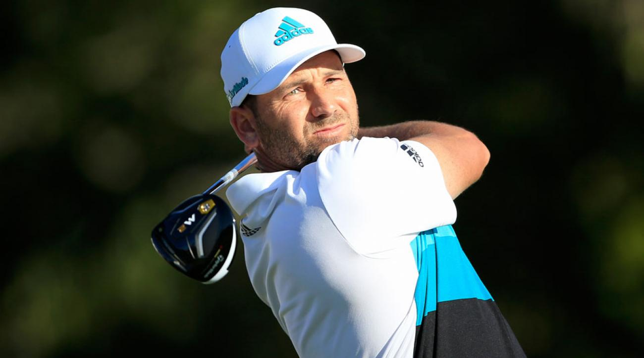 Sergio Garcia tees off on the 14th hole during the third round of the 2016 Honda Classic.