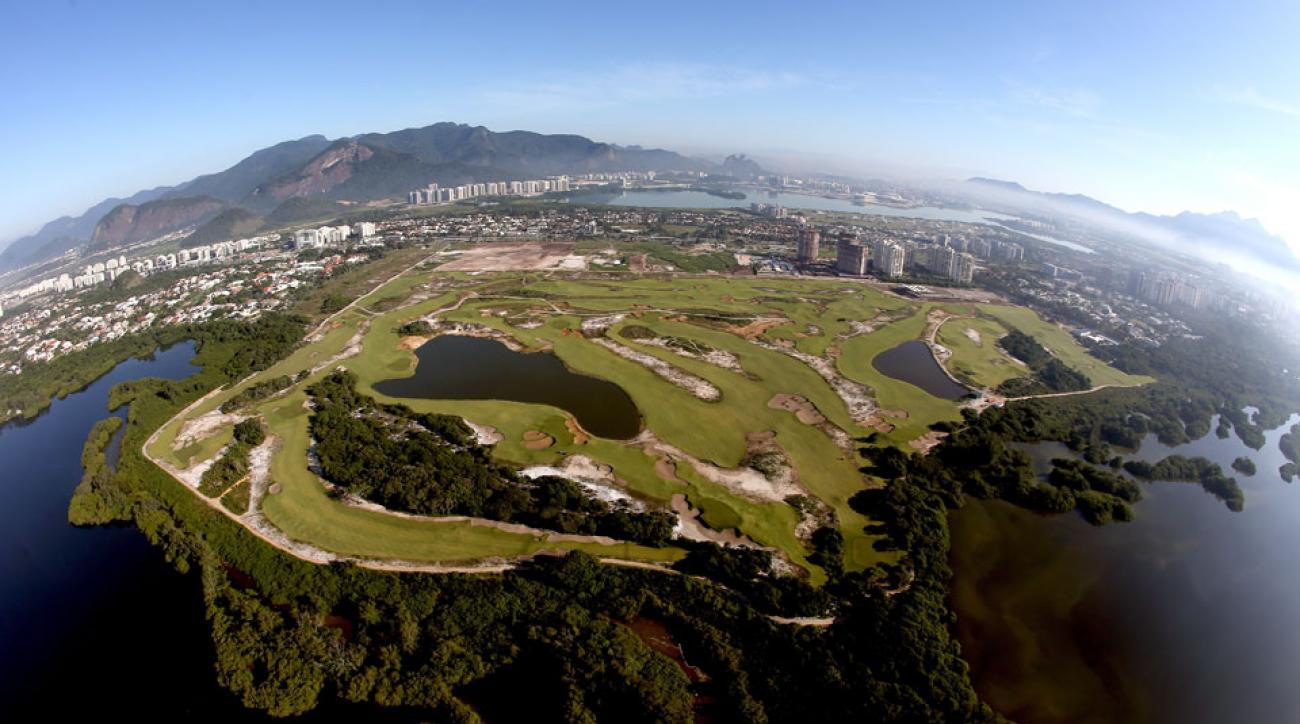 An aerial view of the Olympic Golf Course in Rio de Janerio taken six month prior to the start of the 2016 Games.