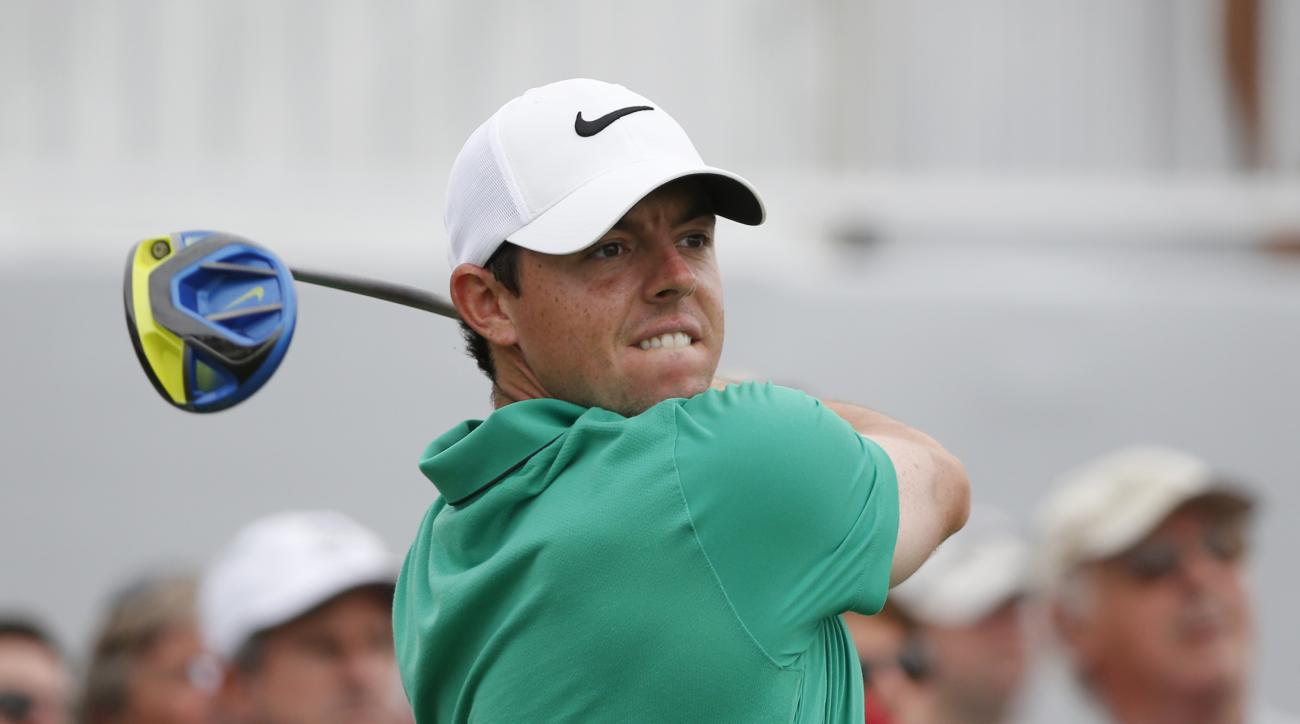Rory McIlroy of Northern Ireland, watches his shot from the 10th tee during the third round of the Cadillac Championship golf tournament, Saturday, March 5, 2016, in Doral, Fla. (AP Photo/Wilfredo