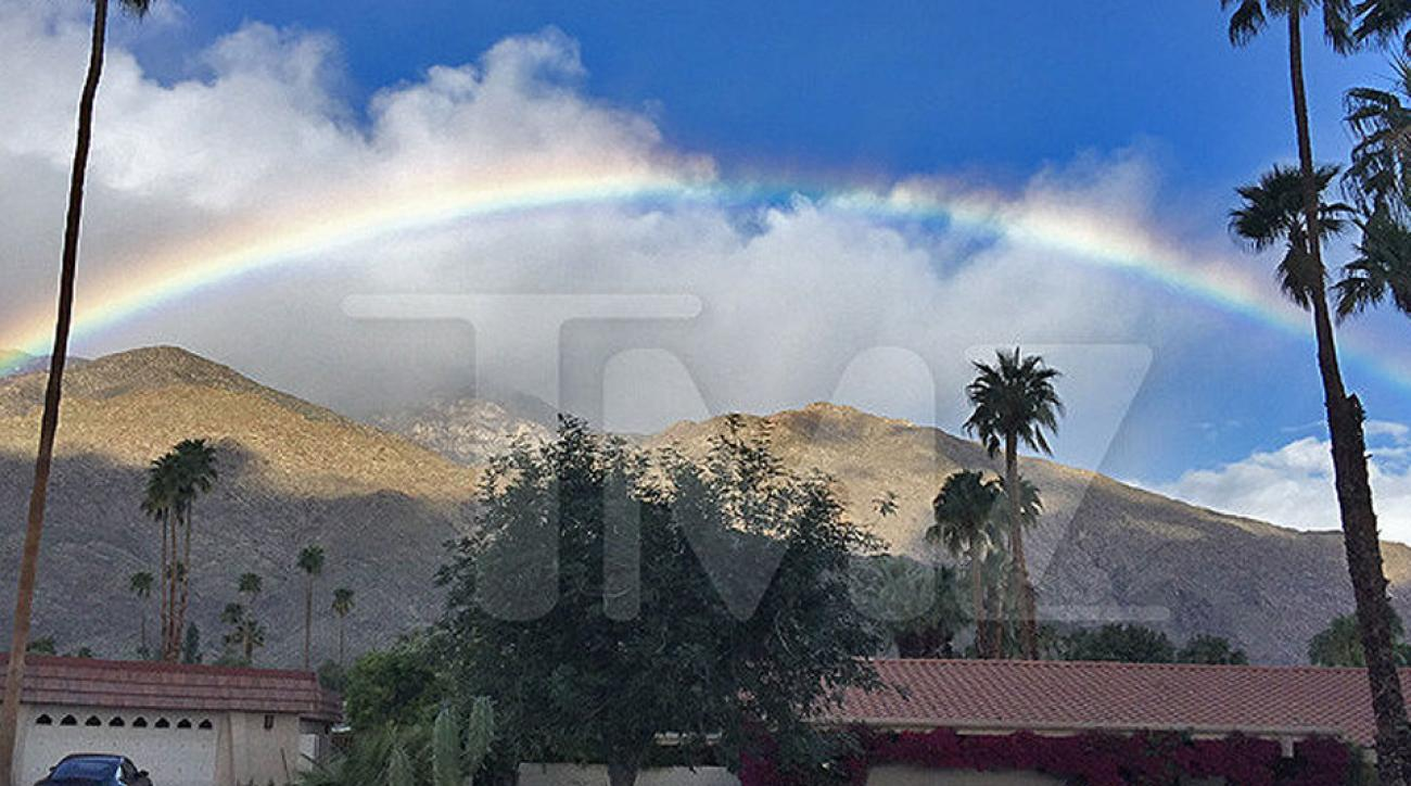 A rainbow appears above Indian Canyons Golf Resort, one of Ronald Reagan's favorite courses.