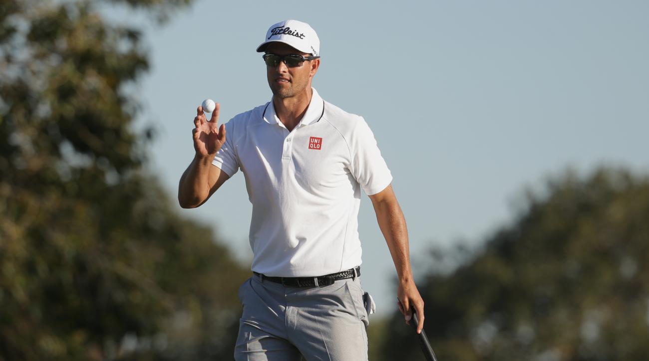 Adam Scott won Cadillac Championship golf tournament Sunday, but lost a little pride after a flub.