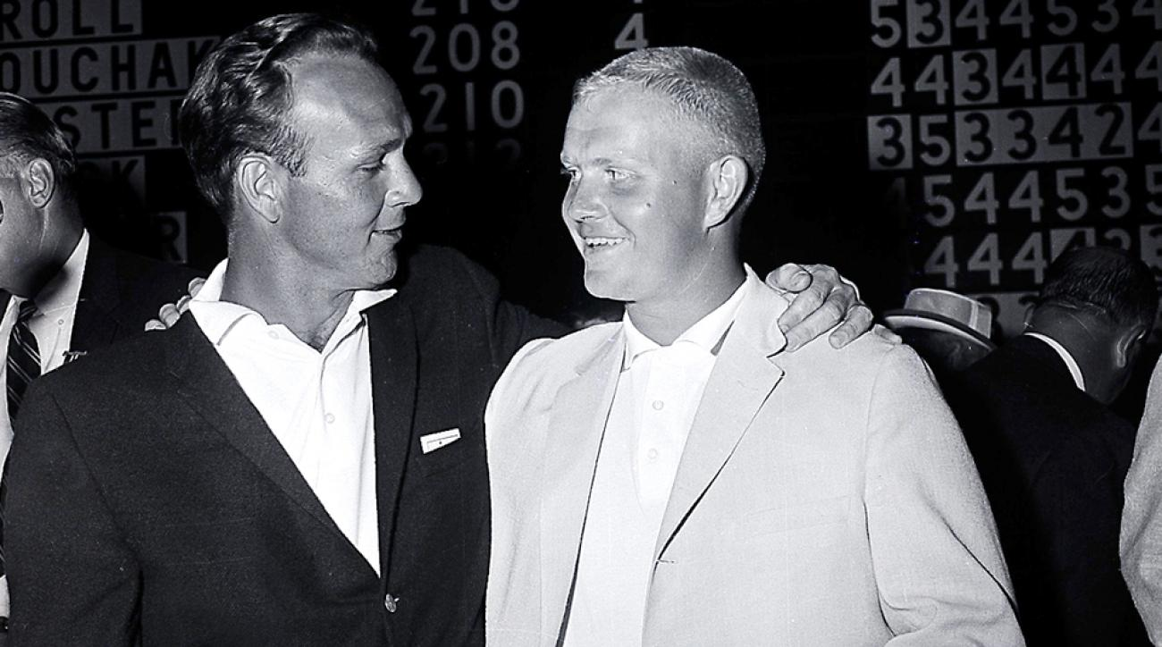 Arnold Palmer, left, winner of the U.S. Open Championship, congratulates Jack Nicklaus, the U.S. Amateur champion who placed second, at Cherry Hills Country Club in 1960.