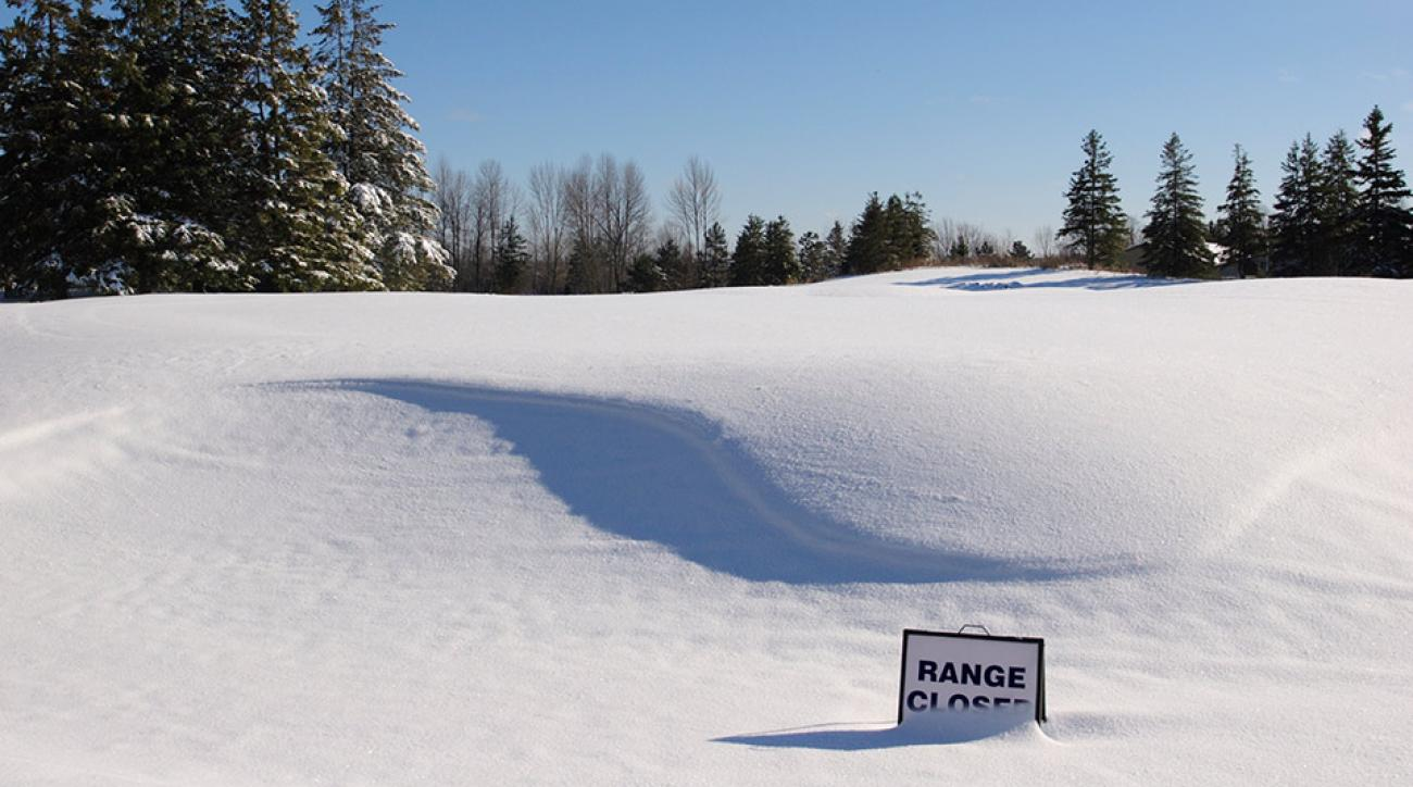 A snow covered golf course.