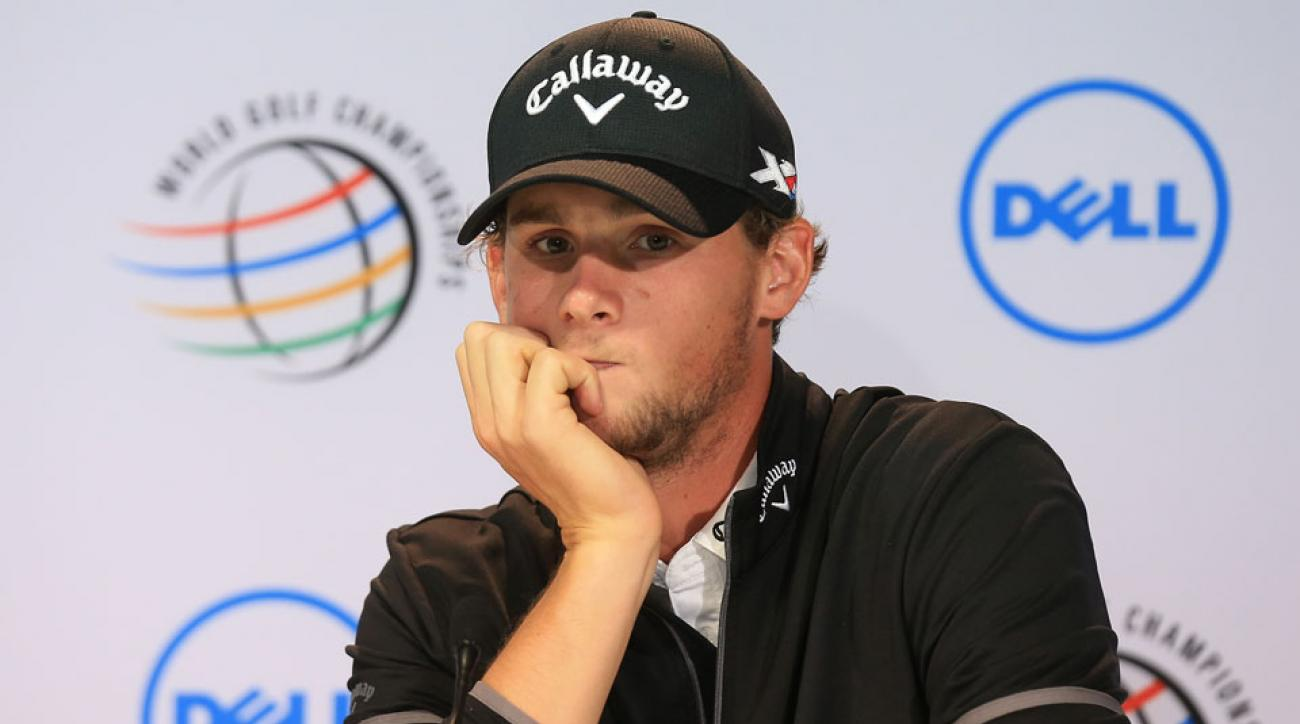 Thomas Pieters of Belgium addresses the media before his practice round at the 2016 WGC-Dell Match Play.