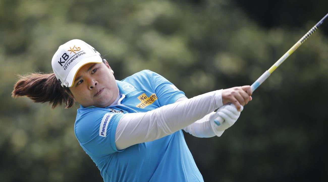 Inbee Park tees off on the second hole during the final round of the Kia Classic.
