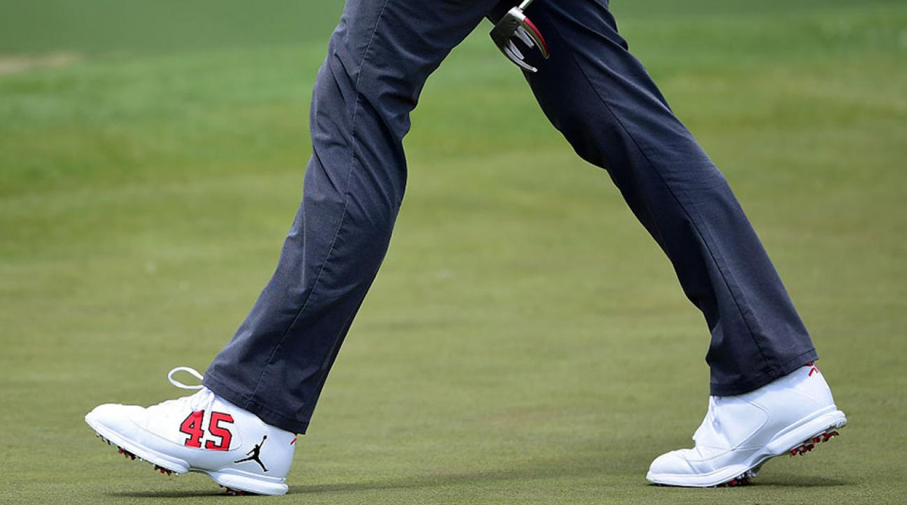 A detail of the shoes Keegan Bradley wore during the first round of the 2016 Masters Tournament.