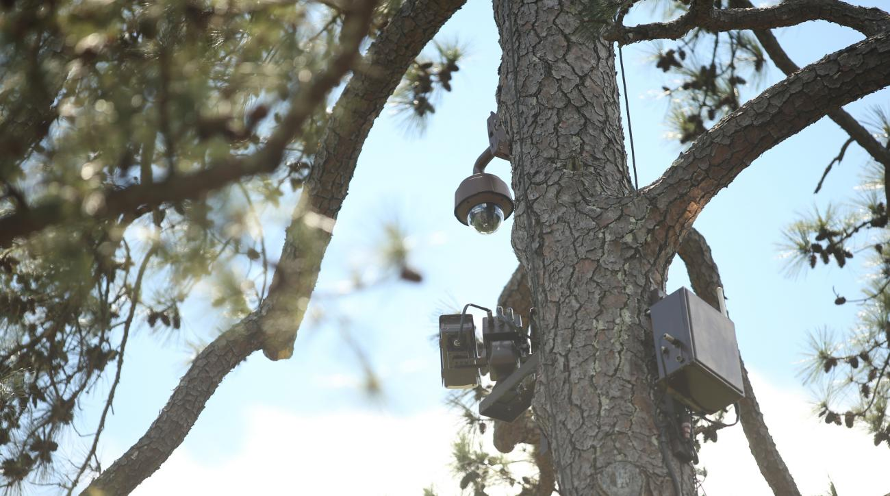 A close-up look at the cameras near the 12th tee of Augusta National Golf Club.