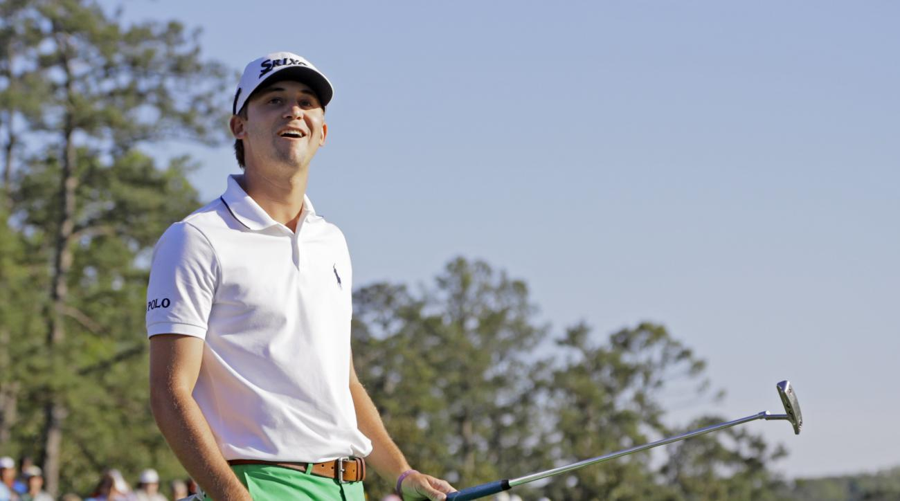 Smylie Kaufman reacts after missing a putt on the 18th green during the third round of the Masters golf tournament Saturday, April 9, 2016, in Augusta, Ga. (AP Photo/Jae C.